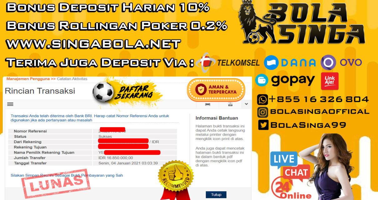 Pemenang Sportbook Mix Parlay 04 Januari 2021