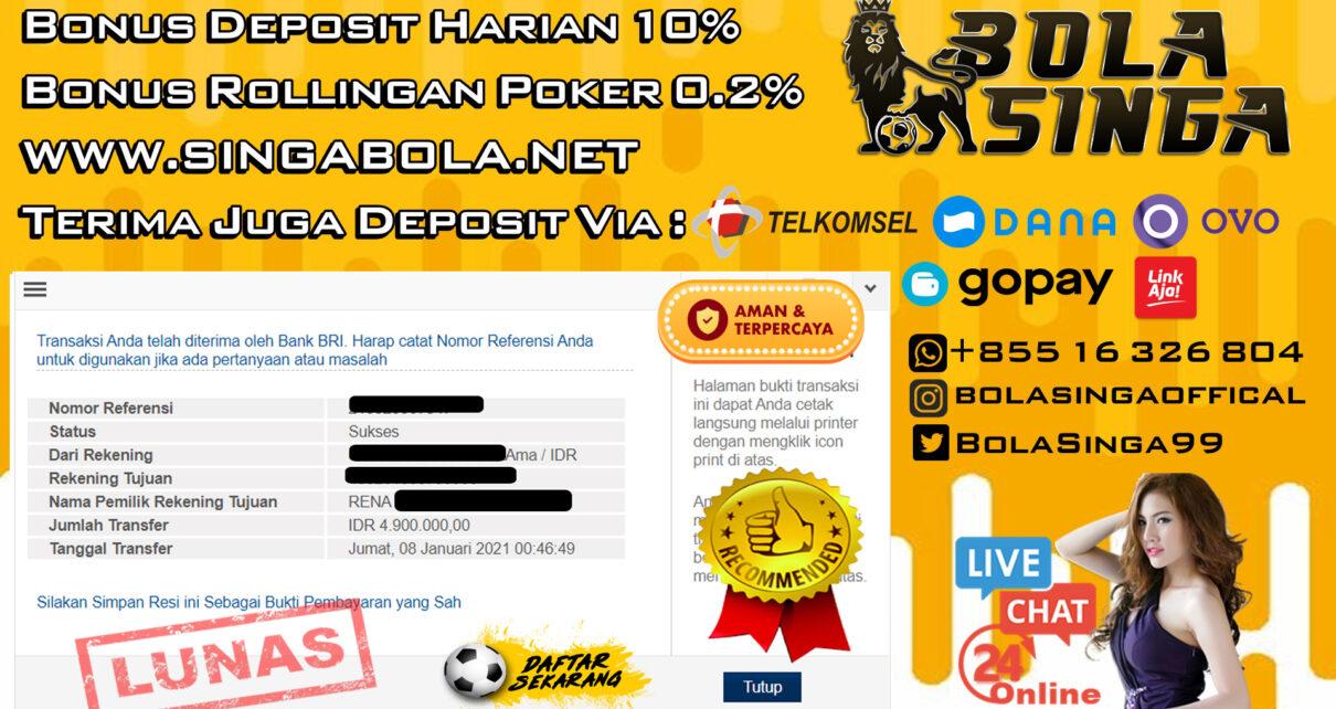 Pemenang Sportbook Mix Parlay 08 Januari 2021